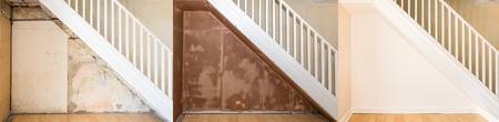 Tres imágenes progresivas de la renovación de una pared bajo una escalera doméstica. La pared desnuda, la pared enlucida y todavía húmeda, y la pared pintada y terminada con adornos y zócalos. Foto de archivo - 85290111