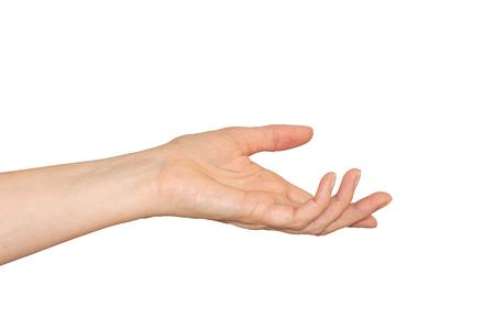 Mano de mujer caucásica, palma hacia arriba y dedos curvados en un gesto de ayuda. Aislado en blanco.