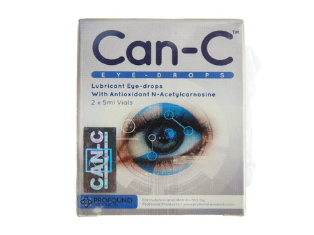 WREXHAM, UK - SEPTEMBER 06, 2015: Sealed packet of Profound Products Can-C eye drops on a white background. Contains two vials of liquid with the antioxidant N-Acetylcarnosine. Editorial