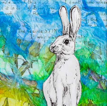 White rabbit drawing on colourful blue green background. Original artwork mixed media collage. Stock Photo