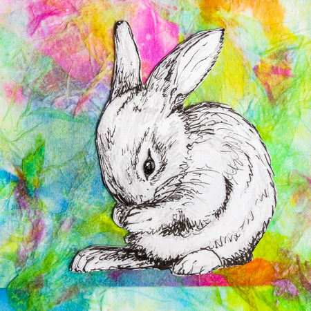 White baby rabbit washing, drawing on colorful abstract background. Original artwork mixed media collage.