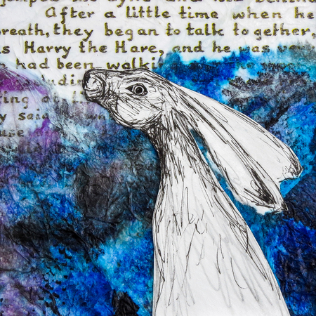 White hare drawing on blue background with words. Original artwork mixed media collage.