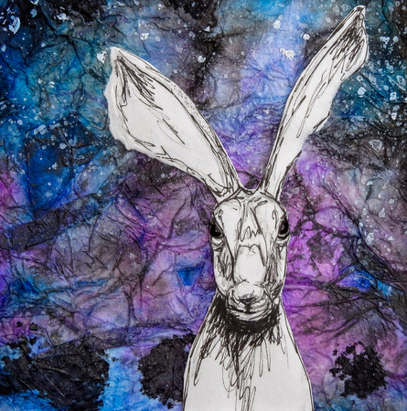 White hare drawing on blue purple night sky background. Original artwork mixed media collage.