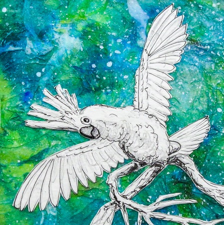 White Cockatoo parrot drawing, green blue background. Wings outstretched. Original artwork mixed media collage.