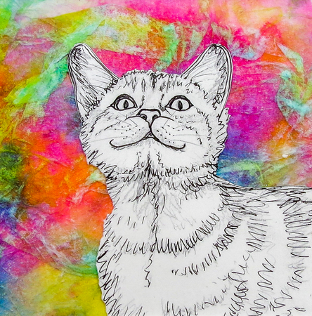 Smiling white cat drawing on vibrant multicoloured background. Original artwork mixed media collage.