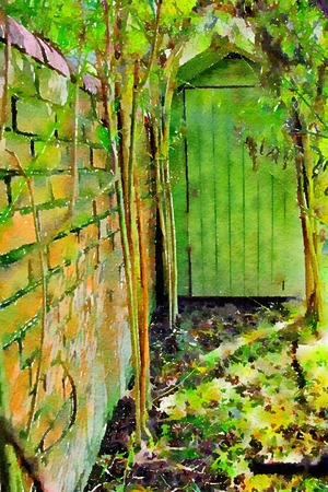 Watercolour painting of garden nook in front of a green shed, under archway of willow with old brick wall. Secret gardeners area, Stock Photo