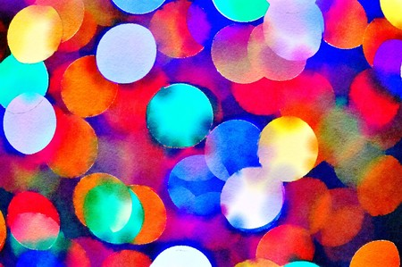 Watercolour painting of vibrant multicoloured Christmas lights bokeh background. Close up of mainly red and blue circles pattern.