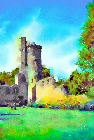 Watercolour painting of an Irish castle tower ruin. Blue sky, trees and a few sutle people on the lawn. Vertical.