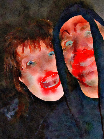 Watercolour painting of two humorous freaky Halloween faces. Vimpire-ish bloody red mouths and wide eyes. Black background.