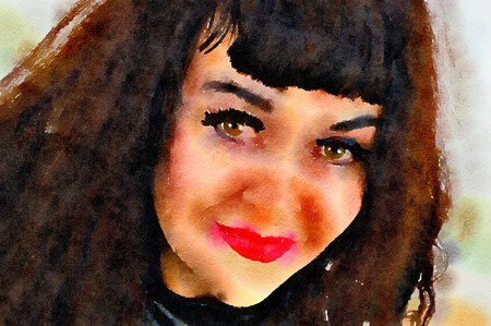 Watercolour painting of a dark haired attractive woman smiling. Close up.