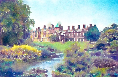 Watercolour painting of Sandringham House gardens and upper lake. A royal residence in Norfolk England. Stock Photo
