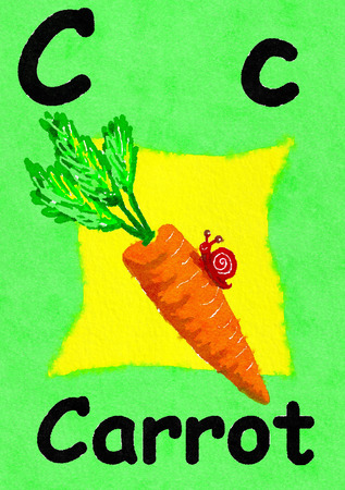 C is for carrot. Watercolour cartoon painting of a carrot and snail. Letter C, ABC kids wall art. Alphabet flashcard, nursery poster, playroom decor. Vibrant colours with a green background. Stock Photo