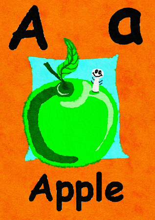 A is for Apple. Watercolour cartoon painting of an apple and worm. Letter A, ABC kids wall art. Alphabet flashcard, nursery poster, playroom decor. Vibrant colours with an orange background. Stock Photo