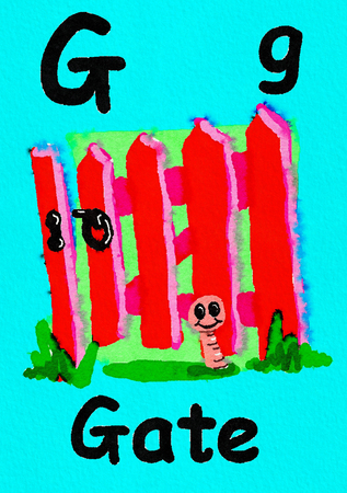 G is for gate. Watercolour cartoon painting of a gate and worm. Letter G, ABC kids wall art. Alphabet flashcard, nursery poster, playroom decor. Vibrant colours with a blue background.