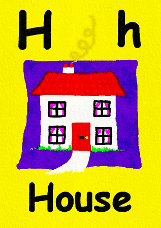 H is for house. Watercolour cartoon painting of a house and home. Letter H, ABC kids wall art. Alphabet flashcard, nursery poster, playroom decor. Vibrant colours with a yellow background.