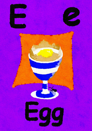 E is for egg. Watercolour cartoon painting of a boiled egg in an egg cup. Letter E, ABC kids wall art. Alphabet flashcard, nursery poster, playroom decor. Vibrant colours with a purple background.