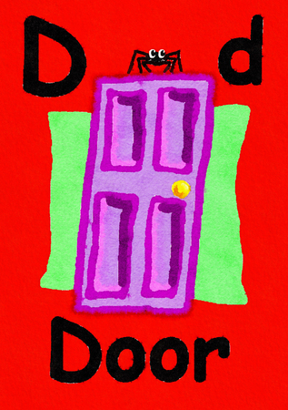D is for door. Watercolour cartoon painting of a door and spider. Letter D, ABC kids wall art. Alphabet flashcard, nursery poster, playroom decor. Vibrant colours with a red background. Stock Photo