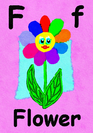 F is for flower. Watercolour cartoon painting of a flower with face. Letter F, ABC kids wall art. Alphabet flashcard, nursery poster, playroom decor. Vibrant colours with a pink background.