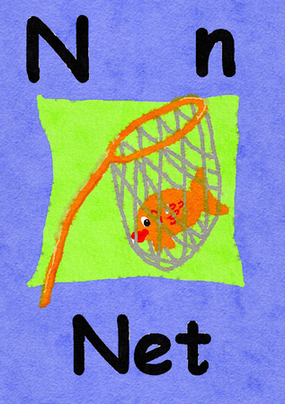 N is for net. Watercolour cartoon painting of a fish in a net. Letter N, ABC kids wall art. Alphabet flashcard, nursery poster, playroom decor. Vibrant colours with an lavander background. Stock Photo