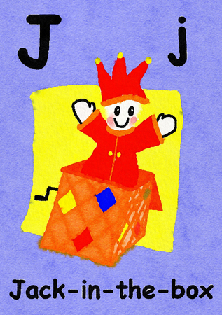 J is for Jack-in-the-box. Watercolour cartoon painting of a Jack-in-the-box. Letter J, ABC kids wall art. Alphabet flashcard, nursery poster, playroom decor. Vibrant colours with an violet background.