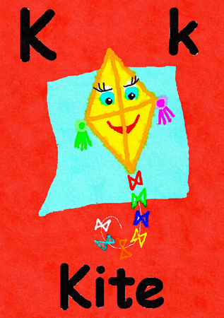K is for kite. Watercolour cartoon painting of a kite with a face. Letter K, ABC kids wall art. Alphabet flashcard, nursery poster, playroom decor. Vibrant colours with a red background.