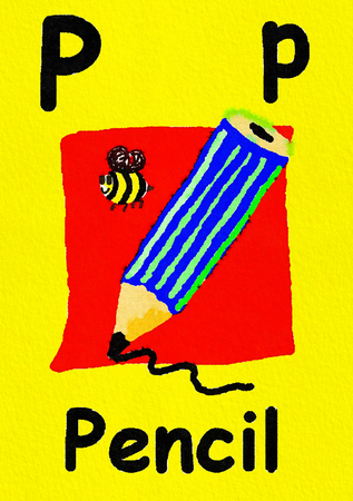 P is for pencil. Watercolour cartoon painting of a pencil and bee. Letter P, ABC kids wall art. Alphabet flashcard, nursery poster, playroom decor. Vibrant colours with an yellow background.