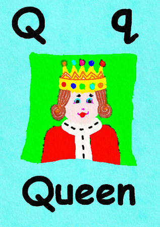 Q is for queen. Watercolour cartoon painting of a queen in her crown. Letter Q, ABC kids wall art. Alphabet flashcard, nursery poster, playroom decor. Vibrant colours with a blue background.