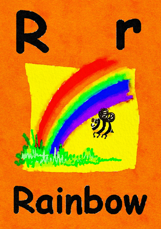 R is for rainbow. Watercolour cartoon painting of a rainbow and bee. Letter R, ABC kids wall art. Alphabet flashcard, nursery poster, playroom decor. Vibrant colours with an orange background. Stock Photo