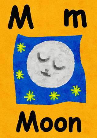 M is for moon. Watercolour cartoon painting of a sleeping moon face. Letter M, ABC kids wall art. Alphabet flashcard, nursery poster, playroom decor. Vibrant colours with an orange background.
