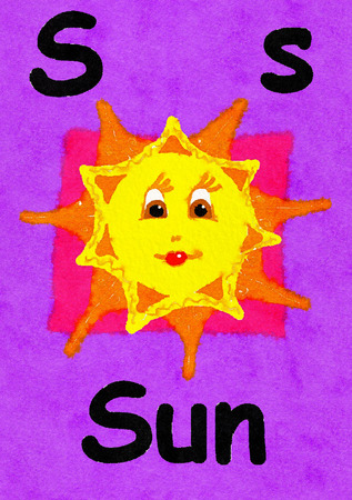 S is for sun. Watercolour cartoon painting of a smiling sun. Letter S, ABC kids wall art. Alphabet flashcard, nursery poster, playroom decor. Vibrant colours with a purple background. Stock Photo