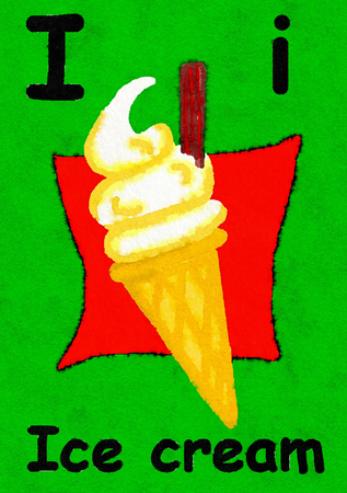 I is for ice cream. Watercolour cartoon painting of an ice cream cone. Letter I, ABC kids wall art. Alphabet flashcard, nursery poster, playroom decor. Vibrant colours with a green background. Banco de Imagens