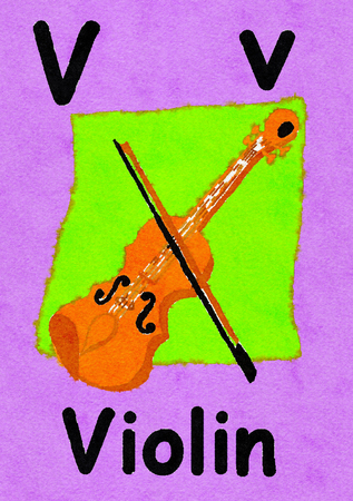 V is for violin. Watercolour cartoon painting of a violin. Letter V, ABC kids wall art. Alphabet flashcard, nursery poster, playroom decor. Vibrant colours with an purple background. Stock Photo