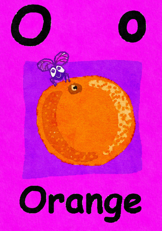 O is for orange. Watercolour cartoon painting of an orange and a fly. Letter O, ABC kids wall art. Alphabet flashcard, nursery poster, playroom decor. Vibrant colours with a pink background.