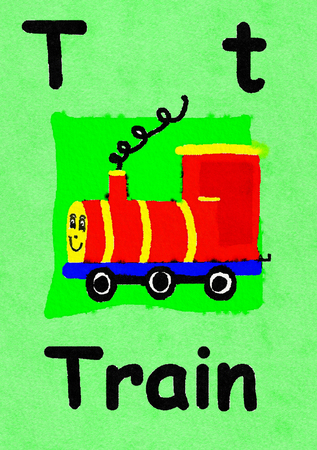 T is for Train. Watercolour cartoon painting of a toy train. Letter T, ABC kids wall art. Alphabet flashcard, nursery poster, playroom decor. Vibrant colours with a green background. Stock Photo