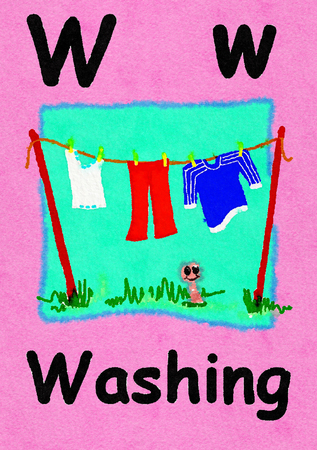 W is for washing. Watercolour cartoon painting of a clothes line and worm. Letter W, ABC kids wall art. Alphabet flashcard, nursery poster, playroom decor. Vibrant colours with a pink background.