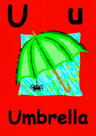 U is for umbrella. Watercolour cartoon painting of an umbrella and spider. Letter U, ABC kids wall art. Alphabet flashcard, nursery poster, playroom decor. Vibrant colours with a red background. Stock Photo