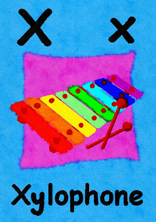 X is for xylophone. Watercolour cartoon painting of a xylophone. Letter X, ABC kids wall art. Alphabet flashcard, nursery poster, playroom decor. Vibrant colours with an blue background.