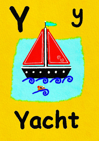 Y is for yacht. Watercolour cartoon painting of a yacht and a fish. Letter Y, ABC kids wall art. Alphabet flashcard, nursery poster, playroom decor. Vibrant colours with a yellow background.
