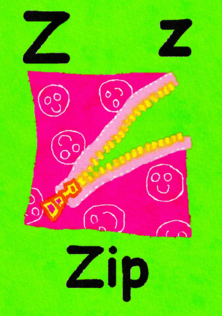 Z is for zip. Watercolour cartoon painting of an open zip. Letter Z, ABC kids wall art. Alphabet flashcard, nursery poster, playroom decor. Vibrant colours with a green background. Stock Photo
