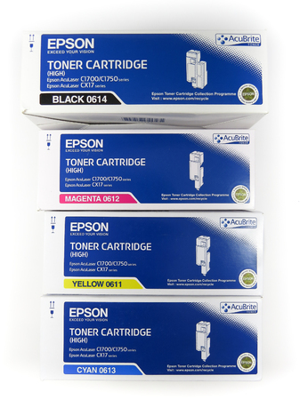 WREXHAM, UK - OCTOBER 27, 2016: Set of boxed Epson toner cartridges in black, magenta, yellow and cyan. On a white background. Editorial