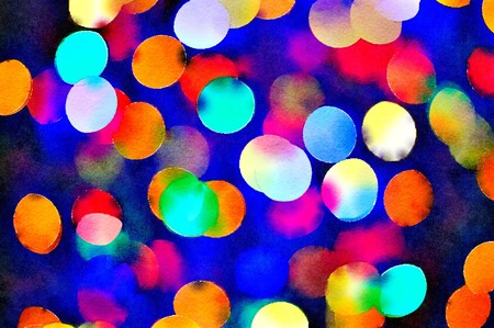 Watercolour painting of vibrant Christmas lights bokeh. Bright multicloured lights with a dark blue background.