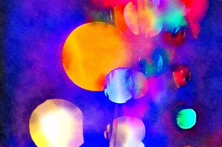 Watercolour painting of colourful Christmas lights bokeh with dark blue and purple background. Irregular pattern of circles including a large orange one.