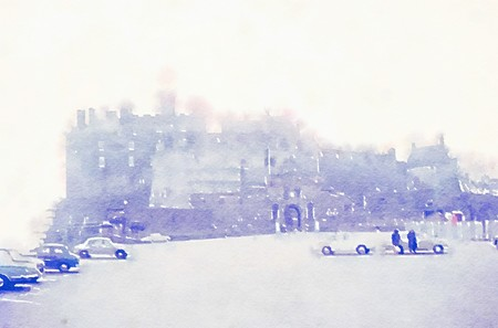 Watercolour painting of Edinburgh castle from the car park on a misty morning. Washed out pale colours creating the atmospheric feel of Scotland on a cold grey day.
