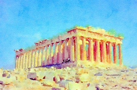 Watercolour painting of the Parthenon, ancient monument ruins on the Acropolis, in Athens Greece. Imagens