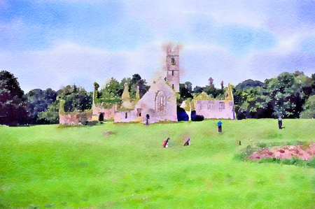 Watercolour painting of the old Franciscan friary at the Adare Manor golf club in Ireland on a summer day. Stock Photo