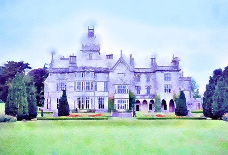 Watercolour painting of Adare Manor house in County Limerick, Ireland. The building is a calendar house, featuring 365 windows and 52 chimneys. Stock Photo