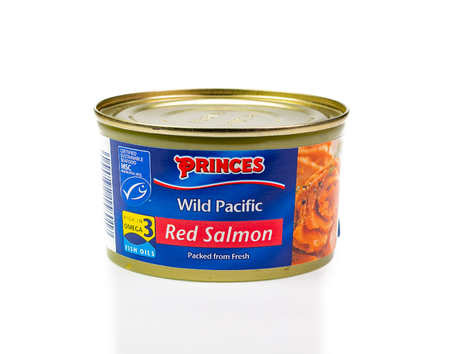 WREXHAM, UK - MARCH 31, 2017: Tin of Princes wild Pacific red salmon, on a white background. Editorial