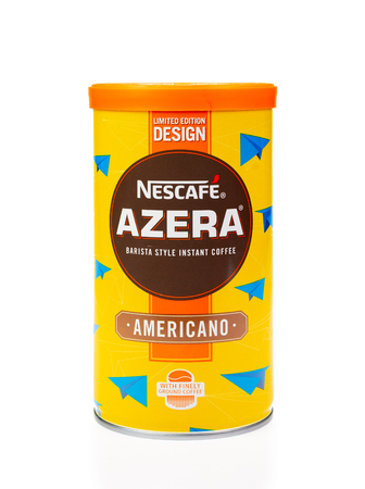 WREXHAM, UK - MARCH 31, 2017: Nescafe Azera barista style instant coffee, on a white background. Americano, in a limited edition designed tin.