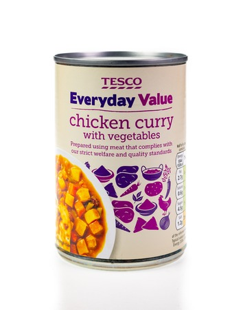WREXHAM, UK - MARCH 31, 2017: Tesco Everyday Value chicken curry with vegetables in a can, on a white background. Editorial