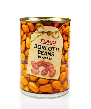 WREXHAM, UK - MARCH 31, 2017: Tin of Tesco borlotti beans in water, on a white background. Editorial